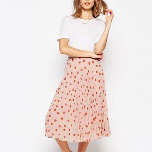 ASOS Polka Dot Pleated Midi Skirt